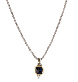 John Medeiros Nouveau Square Indigo Cushion CZ 18in. Chain Necklace
