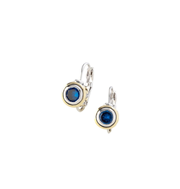 John Medeiros - Beijos CZ Bezel Set Earrings 6 MM/Sapphire