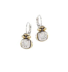 John Medeiros -  Anvil Pav Two Tone French Wire Earring