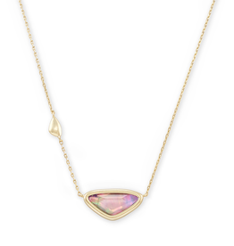 Kendra Scott Margot Short Pendant Necklace Gold Lilac Abalone