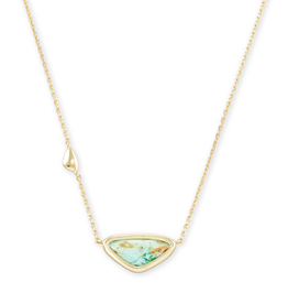 Kendra Scott Margot Short Pendant Necklace Gold Sea Green