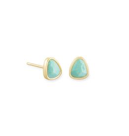 Kendra Scott Ivy Stud Earring Gold Sea Green