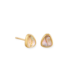 Kendra Scott Ivy Stud Earring Vintage Gold White Abalone