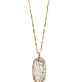 Kendra Scott Faceted Reid Necklace Vintage Gold White Abalone