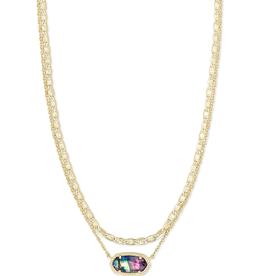 Kendra Scott Elisa Multi-Strand Necklace Gold Lilac Abalone