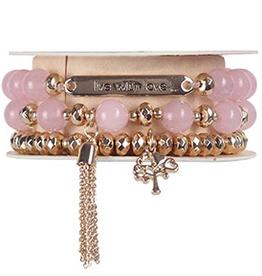 Soul Stacks - Live with Love Rose Quartz Bracelet Set