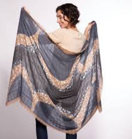 Rock Flower Paper Ripple Charcoal Oversized Jacquard Scarf<br /> transforms pants and a top into a dazzling outfit<br /> universally flattering, one size fits all<br /> hand-washable<br /> made of polyester, viscose