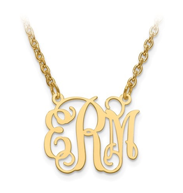 "Gold Plated/Sterling Silver Monogram Necklace (5/8"")"