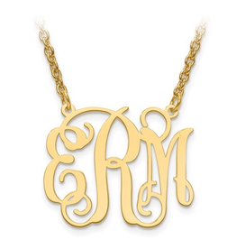 "Gold Plated/Sterling Silver Monogram Necklace (7/8"")"
