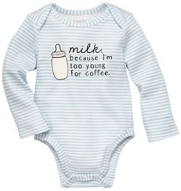 Mud Pie Too Young for Coffee Blue Cotton Crawler