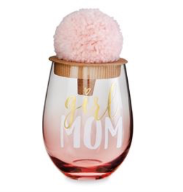 Mud Pie Girl Mom Wine Glass Set
