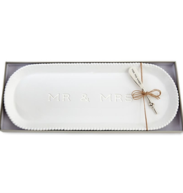 Mud Pie Mr. & Mrs. Beaded Hostess Tray Set