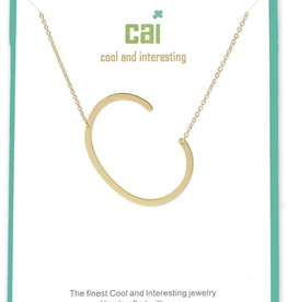 Cool and Interesting - Gold Plated Medium Sideways Initial Necklace - C