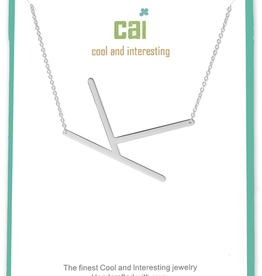 Cool and Interesting - Silver Plated Medium Sideways Initial Necklace - K