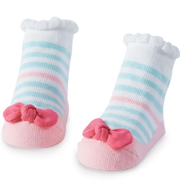 Mud Pie Blue Stripe Bow Socks