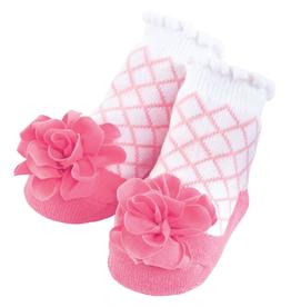 Mud Pie Pink Latice Flower Socks
