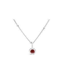 Stia Jewelry CZ Bezel Necklace - Garnet/January