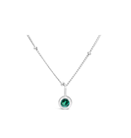 Stia Jewelry CZ Bezel Necklace - Emerald/May