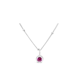 Stia Jewelry CZ Bezel Necklace - Ruby/July