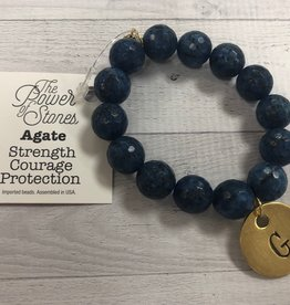 PowerBeads by Jen - Agate with Initial G Medal