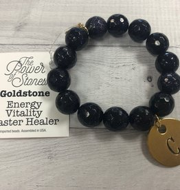 PowerBeads by Jen - Goldstone with Initial C Medal