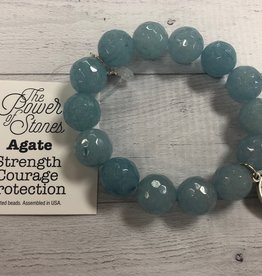 PoweBeads by Jen - Agate with Guardian Angel Medal