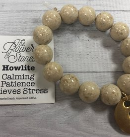 PowerBeads by Jen - Howlite with Initial C Medal