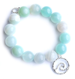 PowerBeads by Jen - Caribbean Agate with a Silver Wave