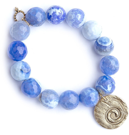 PowerBeads by Jen - Agate with Bronze Hammered Wave