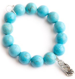 PowerBeads by Jen - Blue Howlite with a Silver Flip Flop
