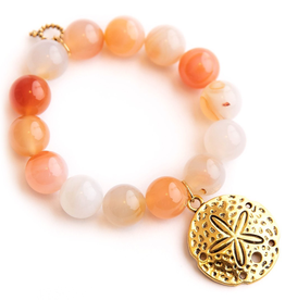 PowerBeads by Jen - Bermuda Agate with a Large Brass Sand Dollar