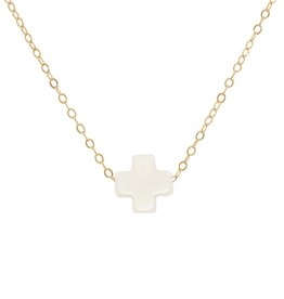 "enewton - 16"" Necklace Gold Signature Cross Off-White"