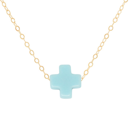 "enewton - 16"" Necklace Gold Signature Cross Turquoise"