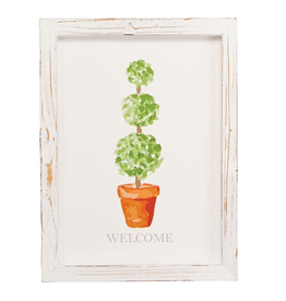 Mud Pie Welcome Topiary Art Plaque