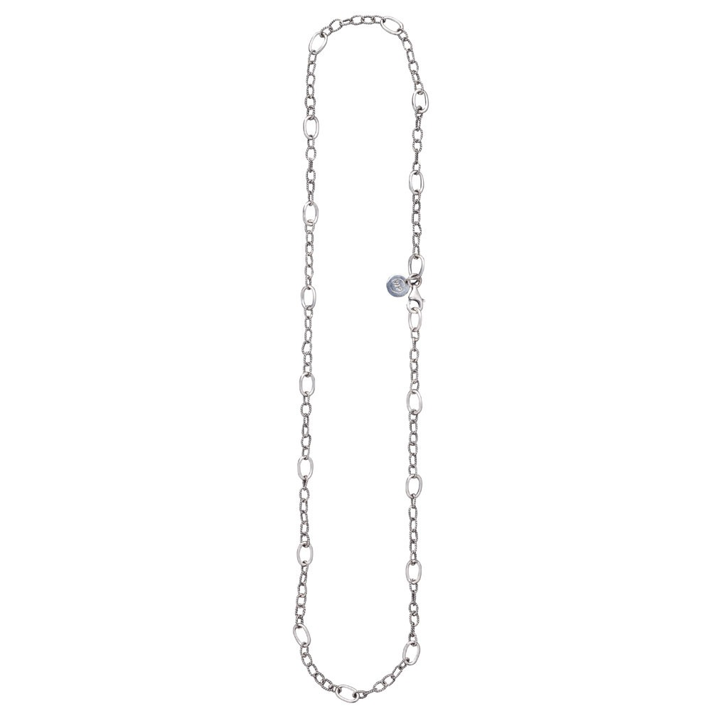 """Waxing Poetic Twisted Link with Silver Rings Chain - Silver - 18"""""""