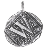 Waxing Poetic Square Insignia Charm- Silver- Letter W