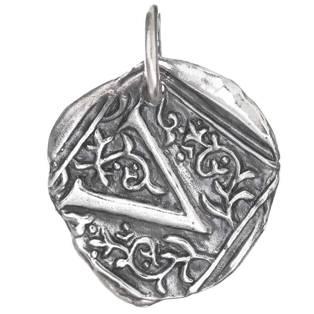 Waxing Poetic Square Insignia Charm- Silver- Letter V