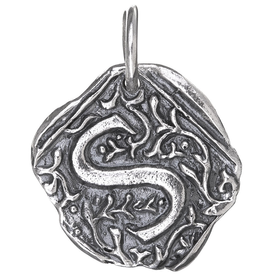 Waxing Poetic Square Insignia Charm- Silver- Letter S