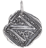 Waxing Poetic Square Insignia Charm- Silver- Letter N