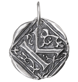 Waxing Poetic Square Insignia Charm- Silver- Letter K