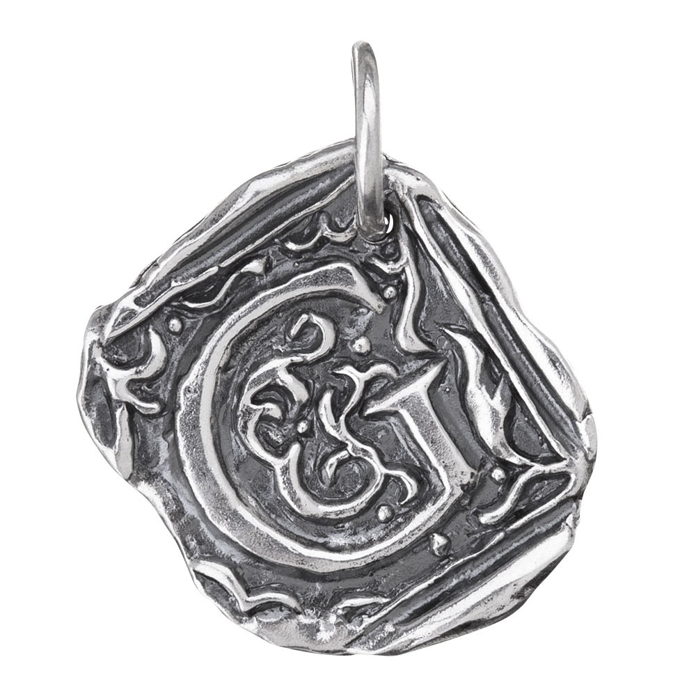 Waxing Poetic Square Insignia Charm- Silver- Letter G