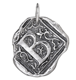 Waxing Poetic Square Insignia Charm- Silver- Letter B