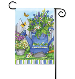 Garden Flag - Painted Watering Can