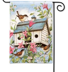 Garden Flag - Spring Birdhouse