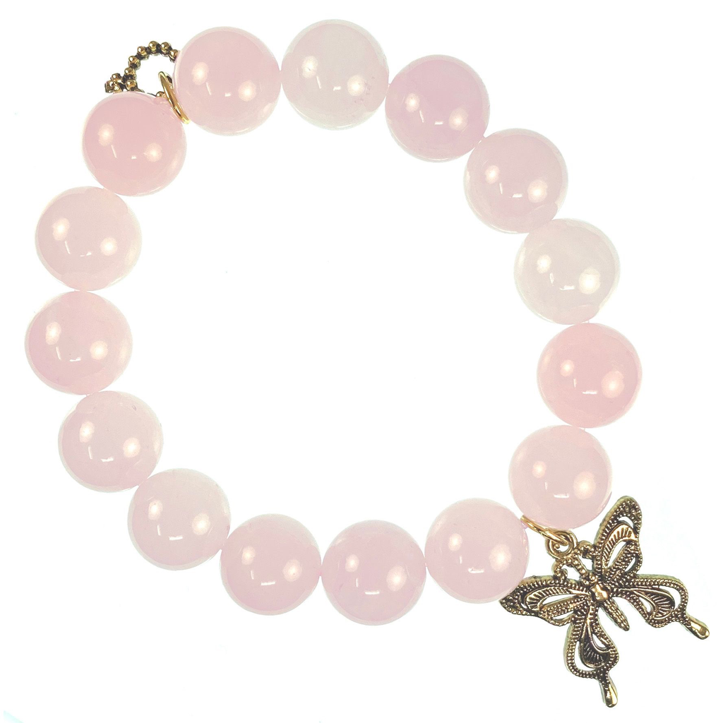 PowerBeads by Jen - Rose Quartz with Butterfly Attachment