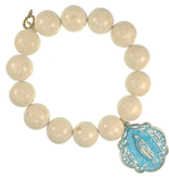 PowerBeads by Jen - Coral with Patina Queen of Heaven medal