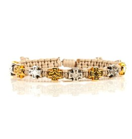 My Saint My Hero - Faith Blessing Bracelet - Gold & Silver Medals -Tan