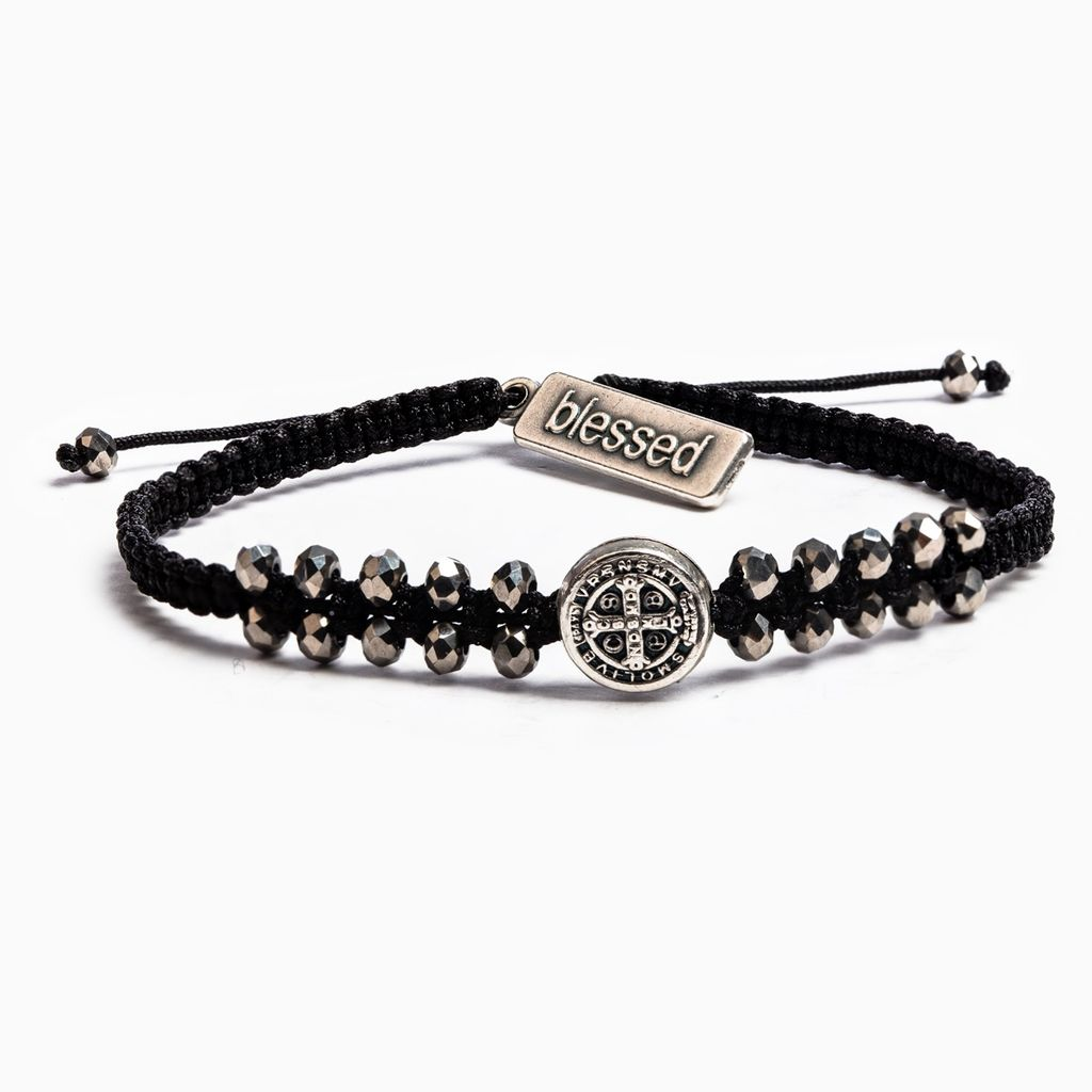 My Saint My Hero - Stairway to Heaven Bracelet (Black, Silver & Silver Glass)