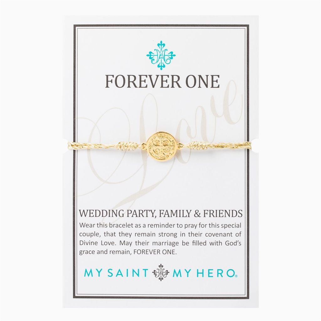 My Saint My Hero - Wedding Party Blessing Bracelet - Gold Metallic/Gold
