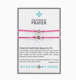 My Saint My Hero - Prayer Partner Bracelets - Fuschia/Silver